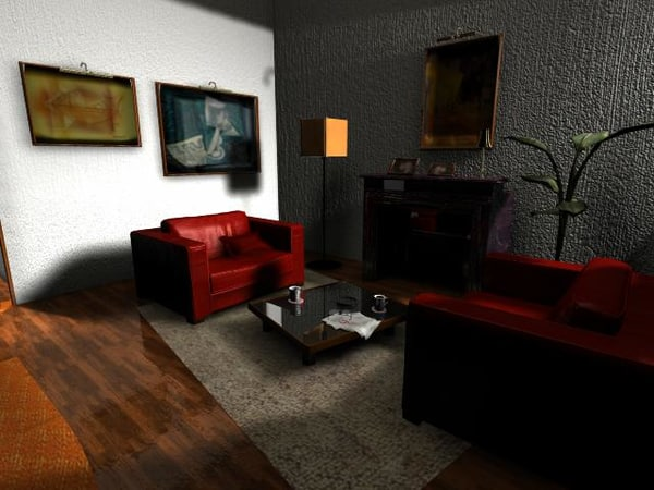 3d living room interior model