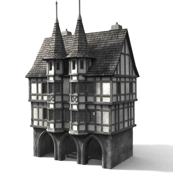 3d medieval townbuilding model
