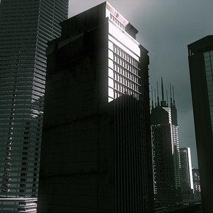 3d max metropolis lightened buildings bridge
