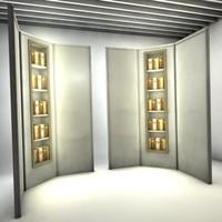 3d model corner vitrine