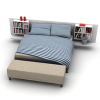 bed bedroom furniture 3d max