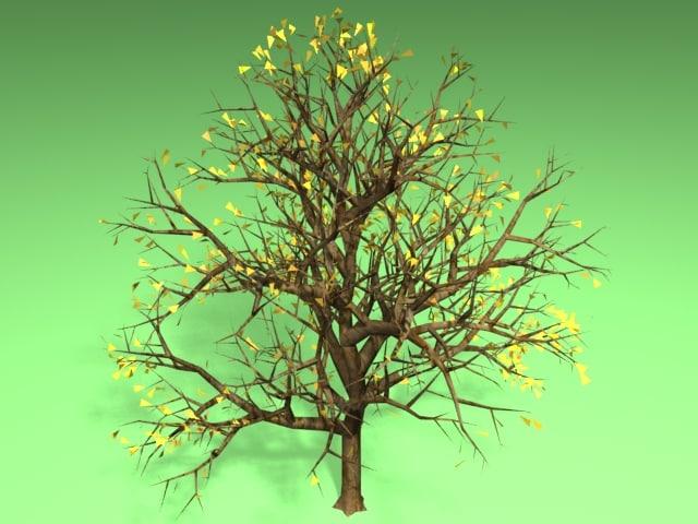 tree fall leaves 3d lwo