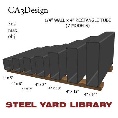 3d model 1 wall tube steel