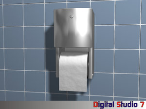 surface mounted toilet paper 3d model