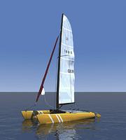 catamaran boat 3d model
