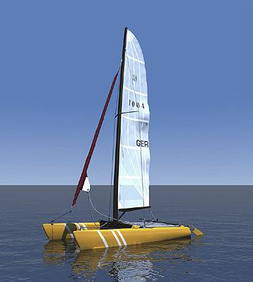 3d catamaran boat beached