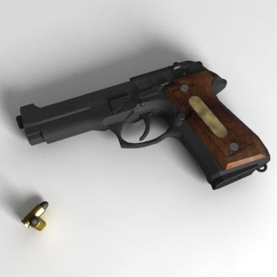 9mm gun pistol 3d ma