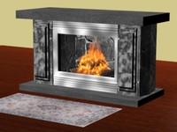 3d fireplace animation model