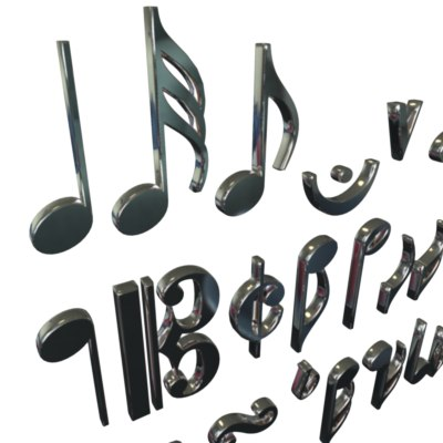 3d music notes model