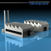 3d model of stilized city factory buildings