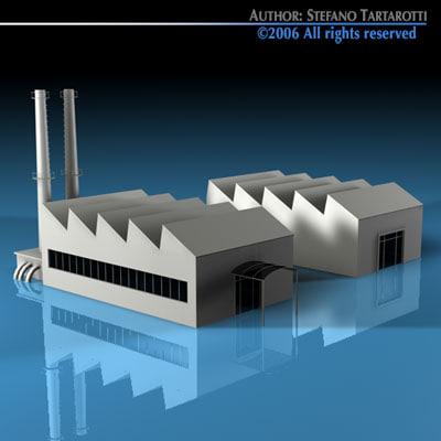 3d model of stilized city factory buildings