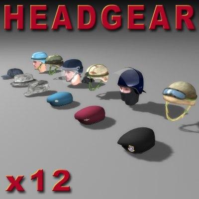 3d military helmets berets hats