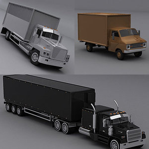 3d model truck delivery