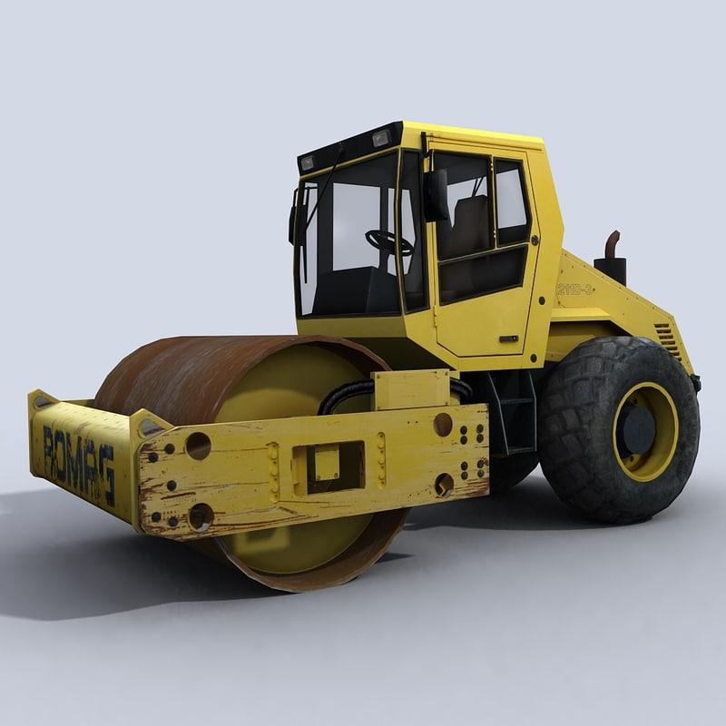 roller heavy road 3d model
