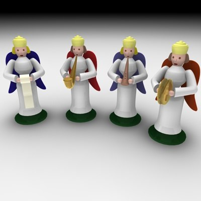 3d model christmas angel set