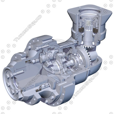 cutaway gearbox gears 3d model