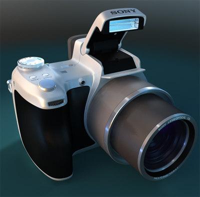 sony dsc-h1 digital camera 3d c4d