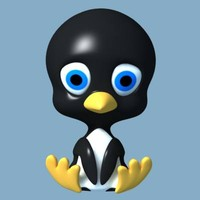 bird cartoon penguin 3d model