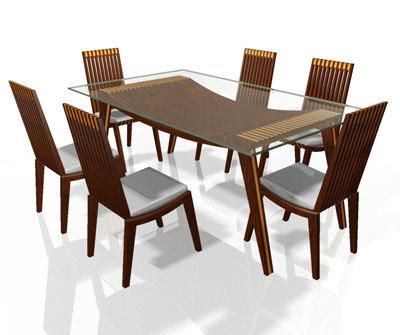 3d max brazilian table chair