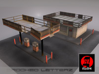 3dsmax old abandoned gas station