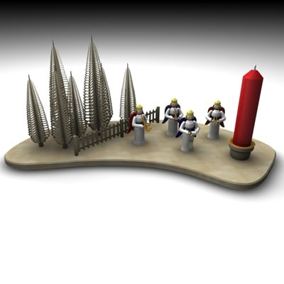 christmas candle candleholder 3d 3ds
