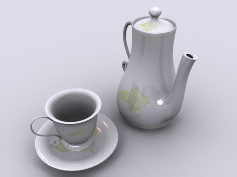 free tea set 3d model