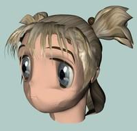 3d manga babe head