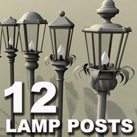 12 lamp posts