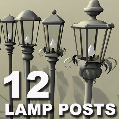 3d max 12 lamp posts