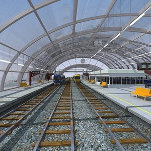 3ds max train station