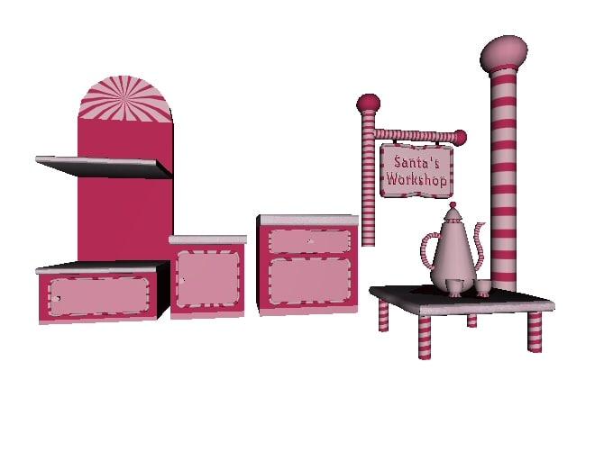 3d model candy coated furniture set