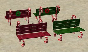 3d candy cane bench christmas model