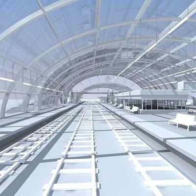 3d model train station