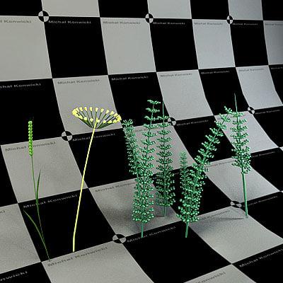 3d model plant weed stalk