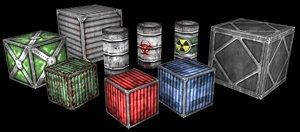 prefab pack barrels boxes 3d model