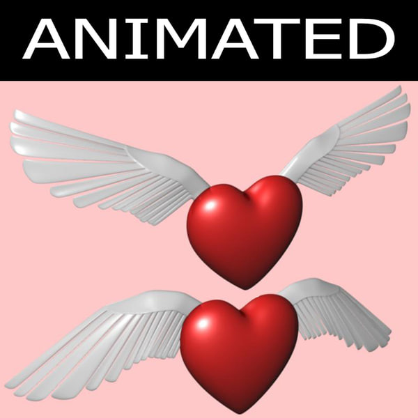 winged heart animation 3d model