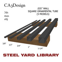 wall square tube steel 3d model