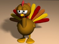 3d model cartoon turkey
