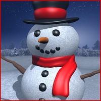 snowman snow trees 3d max