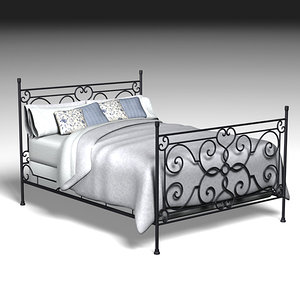 wraught iron bed 3d max