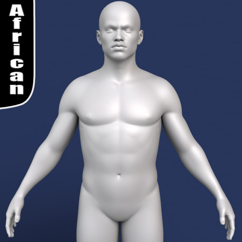 3d model polygonal african male body