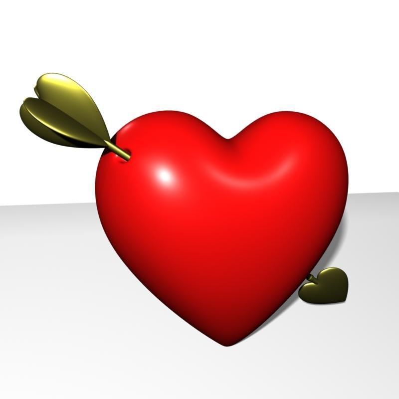 3d heart arrow