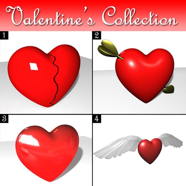 3d model valentine hearts