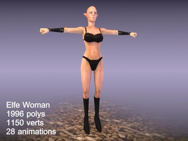 woman elfe character 3d model