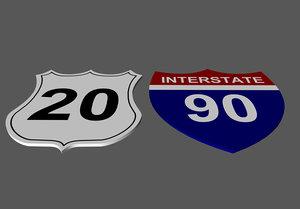 3d model highway signs