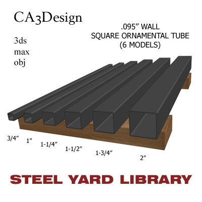 3d model wall square tube steel