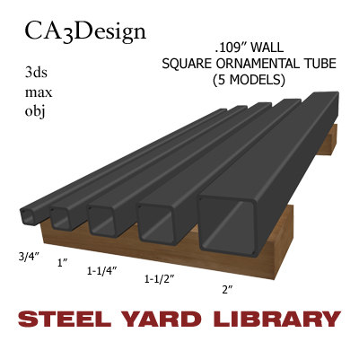 3ds max wall square tube steel
