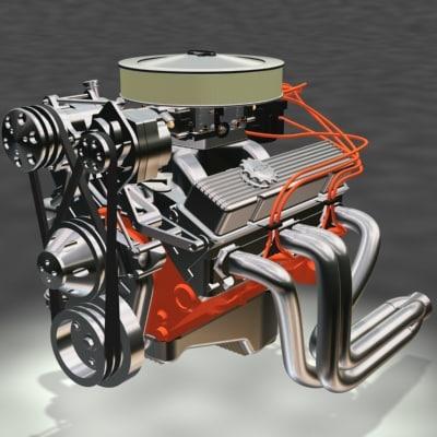 resolution small block motor engine 3d model