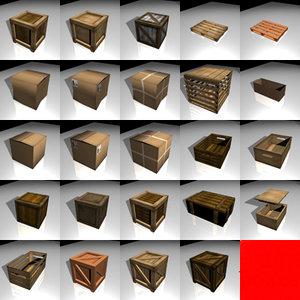 3d model crates boxes