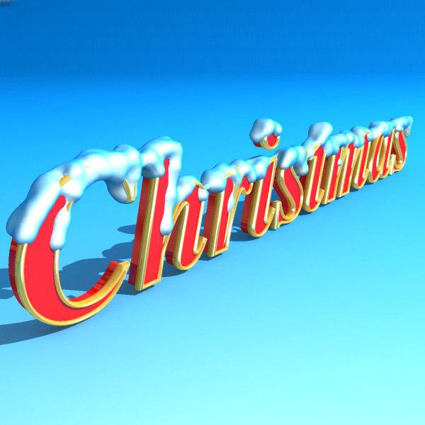christmas logo snow 3d model